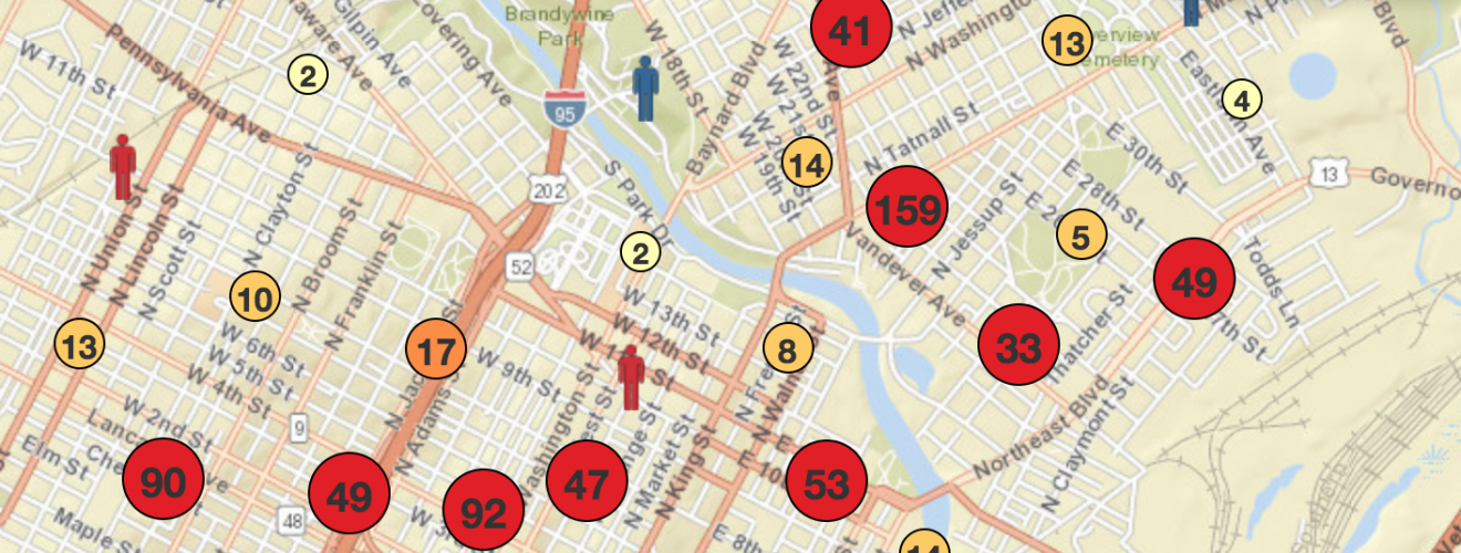 Wilmington shooting map as per 6-2-18 since beginning of record keeping in 2011 by News Journal.